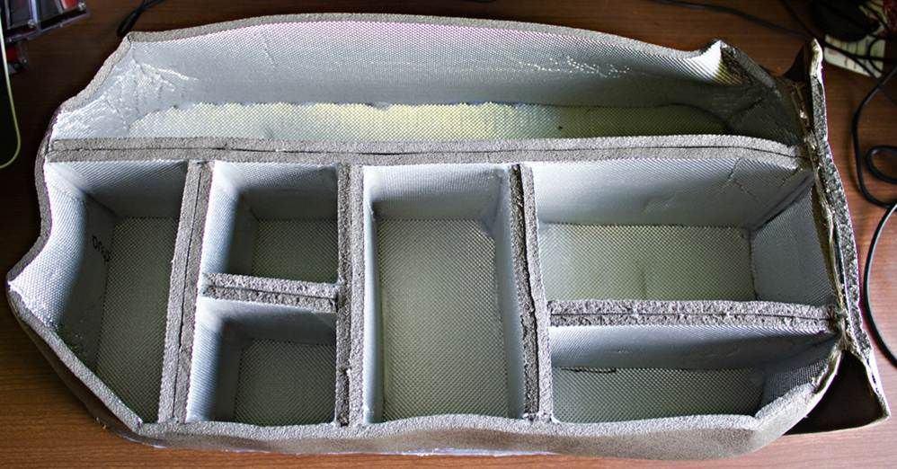 imbottitura borsa fotografica