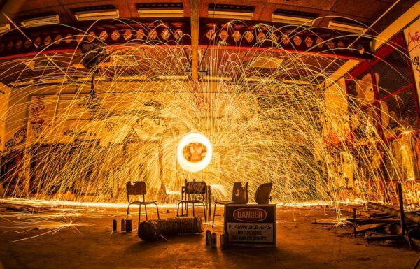fotografare le cascate di fuoco: steel wool